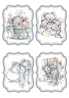 Tatty Teddy, Teddy Bear, Christmas Scenes, Christmas Pictures, Cute Clipart, Pocket Letters, Decoupage Paper, Baby Cards, Cute Drawings