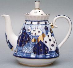 Lomonosov Porcelain Tea Set Cobalt Teapot