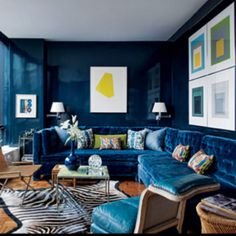 Todd Romano...Blue lacquered walls, blue velvet.