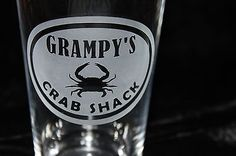 Grampys-Crab-Shack-Pub-Glass-Hand-Crafted-Deep-Sandblast-Etched-Fathers-Day