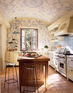 French Country Kitchen Design (White Kitchen) | Kitchen Building...Oh my, this kitchen is so cozy and fun.  I just love it!!!  The romantic painting on the barrel vaulted ceiling is gorgeous and accents the ceiling in such a beautiful way!!