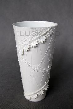 Secession - porcelain decoration by lace Lace Vase, Planter Pots, Porcelain, Pure Products, Elegant, Decoration, Classy, Decor, Porcelain Ceramics