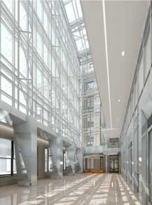 Lobby of GSA's remodeled 1800 F Street Building.