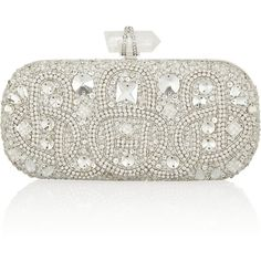Marchesa Lily embellished mesh box clutch (10.600 BRL) ❤ liked on Polyvore featuring bags, handbags, clutches, purses, accessories, bolsas, clutch bag, silver, man bag and white handbags