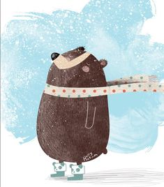 Could this bear get anymore Zen? Now available as a greeting card and sticker in my shop. Link in bio. #illustration #childrensillustration #Christmas #christmascards #greetingcards #stationery #holiday #snow #bear #winter #happy #shop