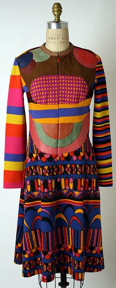 Stephen Burrows 1971 dress coat color block yellow purple green rainbow designer vintage