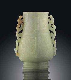 Celadon Jade Vase, Chinese, 18th Century