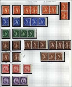 Great Britain, 1952 to 1967 Elizabeth Wilding Definitives Collection, many hundreds of mostly n.h. with blocks in mounts on quadrille pages ...