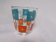 Retro Swanky Swig Sour Cream Teal-Orange Block and Stars 1/2 Pint Glass in Pottery & Glass, Glass, Glassware, Kitchen Glassware, Swanky Swigs | eBay