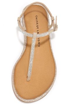 The Chinese Laundry Glitterati Beige Rhinestone Thong Sandals are the best way to take your glam to the sand! Beige microfiber suede constructs a rhinestone-encrusted thong upper. Beige Sandals, Cute Sandals, Cute Shoes, Me Too Shoes, Shoes Sandals, Rhinestone Sandals Flats, Dressy Flat Sandals, Jeweled Sandals, Luxury Shoes