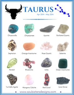 Taurus Healing Crystals by Soul Sisters Designs Healing Crystals associated with each of the 12 Houses of the Zodiac compiled into individual graphics to make learning your Zodiac's crystals easy! Crystal Healing Stones, Crystal Magic, Healing Crystal Jewelry, Healing Rocks, Crystal Guide, Quartz Crystal, Rose Quartz, Chakra Crystals, Crystals And Gemstones