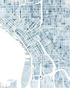 10x8 Seattle Washington Blueprint City map watercolor wall art Print: