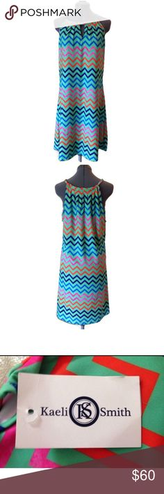 Kaeli Smith casual summer pattern dress size large Super cute brand new multi-colored large Kaeli Smith dress! It's light and airy, perfect for summer!  Measurements Bust: 50 inches  Waist: about 38.5 inches  Overall length: about 38 inches Kaeli Smith Dresses Midi