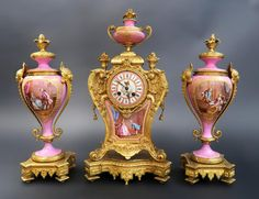 Magnificent French Bronze & Sevres Clock Set
