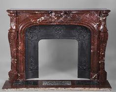 Very beautiful antique Louis XV style fireplace in Red Griotte marble from marcmaison dot com Marble Floor, Acanthus, Fireplace Mantels, Oversized Mirror, Carving, Beautiful, Antiques, Red, Style