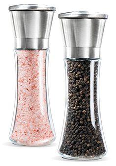 Pepper Grinder 2 Pack Pepper Grinder Stainless Steel Pepper Mill Durable Salt Grinder One Hand Operation Salt Mill 2 Pack 2 Packs