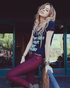 Burgundy Skinny Jeans and Graphic Tees