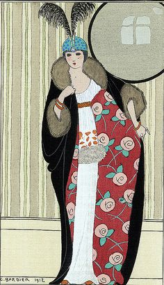 George Barbier (1882-1932) - French Art Deco Fashion Illustrator - Robe de crepe de chine