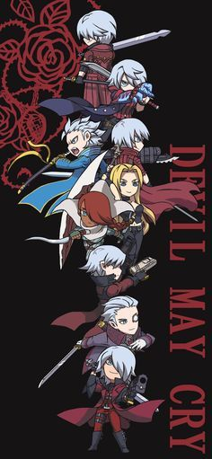 Devil May Cry Characters as Chibis. I'm a bit sad that Lady isn't included, but I guess thats just playable characters up to DMC I love it anyway. Character Art, Character Design, Dante Devil May Cry, Fan Art, Video Game Characters, Mega Man, Video Game Art, Crying, Cartoon