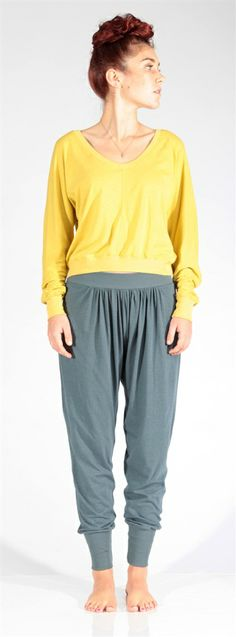 Relaxed and comfy but still as neat as a pin, these lightweight trackies are essential accompaniment to any modern day adventure. Front gathering and an easy back pocket finish off these little beauties.  Made from: organic bamboo and cotton Care: handwashable #Obus