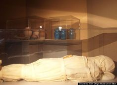 """This mummy, known as """"Mumab,"""" is only 15 years old but it was done in the ancient Egyptian style by Dr. Bob Brier and Ronn Wade, who used the cadaver of a Baltimore man who died in his seventies of heart failure, and donated his body to science."""