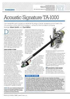 Acoustic Signature TA-1000 Tonearm review @HiFi News - Highly Commended
