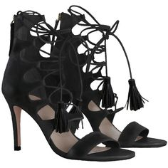ZIMMERMANN Ghillie Heel (700 CAD) ❤ liked on Polyvore featuring shoes, sandals, heels, black sandals, laced sandals, lace up high heel sandals, high heel sandals and tassel sandals