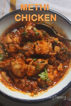Super fragrant and tasty chicken dish made using methi leaves. This chicken dish taste great with rice, roti, phulka as well. Methi Chicken, Chicken Korma Recipe, Easy Chicken Curry, Methi Recipes, Curry Recipes, Tandoori Recipes, Veg Recipes, Delicious Recipes, Indian Chicken Recipes