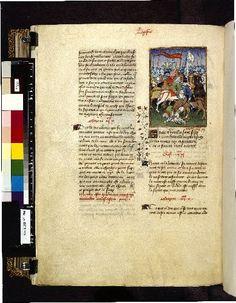 Harley 4431 fol 136v (Death of Hector). Paris, France 1410-1414.