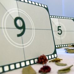 HAND MADE: Movie Wedding Table Numbers Film Reel by PaperColada