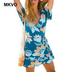 e5261f03b1af 2019 Women Summer Dress Boho Style Floral Print Chiffon Beach Dress Tunic  Sundress Loose Mini Party