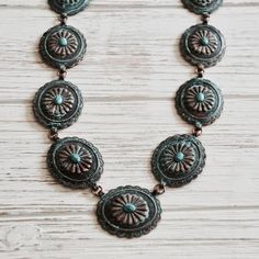 Boho Western Chic Copper Concho Necklace