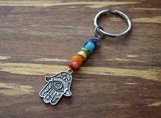 Chakra Hamsa Hand KeyChain • Yoga Keychain • Rainbow Key Ring • Bohemian Accessory • Boho Keychain • Bag Charm by MyHippiePlace on Etsy