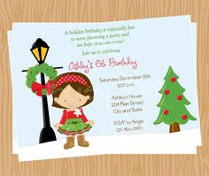 Girl Christmas Holiday Birthday Party Invitations