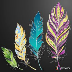 44 Ideas Tattoo Feather Mandala Illustrations For 2019 Feather Drawing, Feather Painting, Feather Art, Arrow Tattoos, Feather Tattoos, Doodle Drawings, Doodle Art, Trendy Tattoos, Cool Tattoos