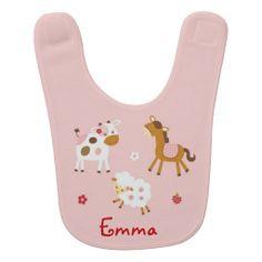 Pink Farm Animal Baby Bib