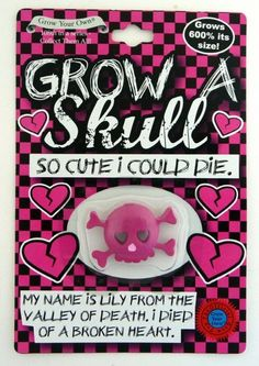 Grow A Skull Crossbones Pink Girly Punk Toy Novelty Gothic Pirate Rock