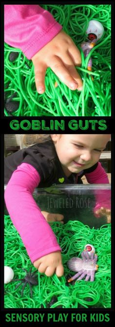 Whip up a batch of goblin guts and set the kids loose on a Halloween sensory hunt