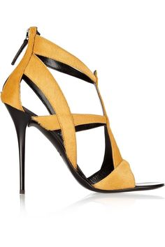 GIUSEPPE ZANOTTI Cutout Calf Hair Sandals. #giuseppezanotti #shoes #sandals