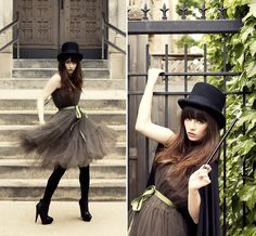, Top Hat, Tulle Dress, Black Tights, Asos Boots, Magician Cape
