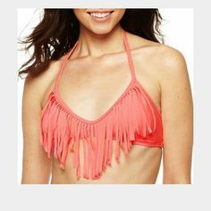 Fringe bikini top New without tags! Never worn! Im selling this in purple. Its super cute and has pushup padding! Arizona is the brand. Feel free to make an offer or check out the rest of my closet and save 20 % on any bundle! H&M Swim Bikinis