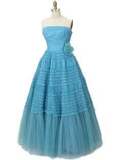 Authentic Vintage Strapless Aqua Ruffle Tulle Gown - Blue Velvet Vintage Z Vintage Formal Dresses, Vintage Prom, Vintage Gowns, Prom Dresses Blue, 50s Dresses, Formal Gowns, Strapless Dress Formal, Vintage Outfits, Formal Prom