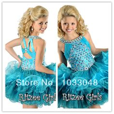Fashion Kids Little Princess Blue Crystals Beading Cupcake Toddler Birthday Party Flower Girl Pageant Dresses For Weddings 2014 US $55.00