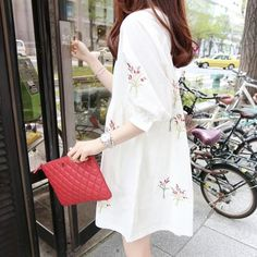 2018 new maternity dress version of cotton and linen embroidered medium and long short sleeved loose doll skirt Stylish Dresses, Dresses For Sale, Dresses Online, Clothes For Pregnant Women, College Fashion, Maternity Dresses, Cotton Linen, Free Shipping, Doll