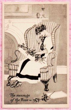 LOVELY VINT. POSTCARD IMAGE ~ PRETTY LADY PONDERS BIRTHDAY ROSES Nice Detail! #BIRTHDAY