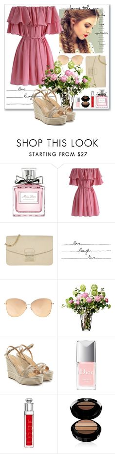 """""""inspired by pink"""" by lady-on-million ❤ liked on Polyvore featuring Christian Dior, Chicwish, Furla, Linda Farrow, LSA International, Sergio Rossi, Armani Beauty, Pink, dress and offshoulder"""