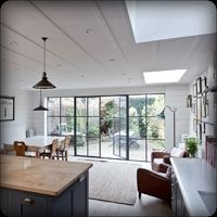 2 (clapperboard,dining room,french doors,kitchen/diner,new england,wood panneling)