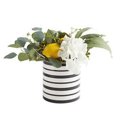 Faux Lemon & Eucalyptus in Black & White Pot Decorating Small Spaces, Decorating On A Budget, White Pot, Black And White, Lemon Crafts, Lemon Eucalyptus, Lemon Kitchen, Stylish Bedroom, New Home Designs