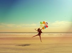 I'll jump on the beach with colorful ballons...