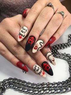 Love Nails, Pretty Nails, Coffin Nails, Acrylic Nails, Punk Nails, Witch Nails, Nail Selection, Stylish Nails, Aesthetic Makeup